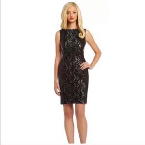 Leather and lace sheath pencil dress 0